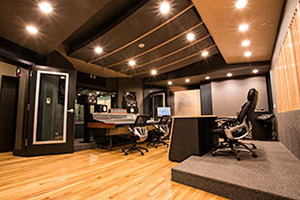 Lakehouse Recording Studios in Asbury Park, NY. Designed by WSDG (Walters-Storyk Design Group). Contorl Room back view.