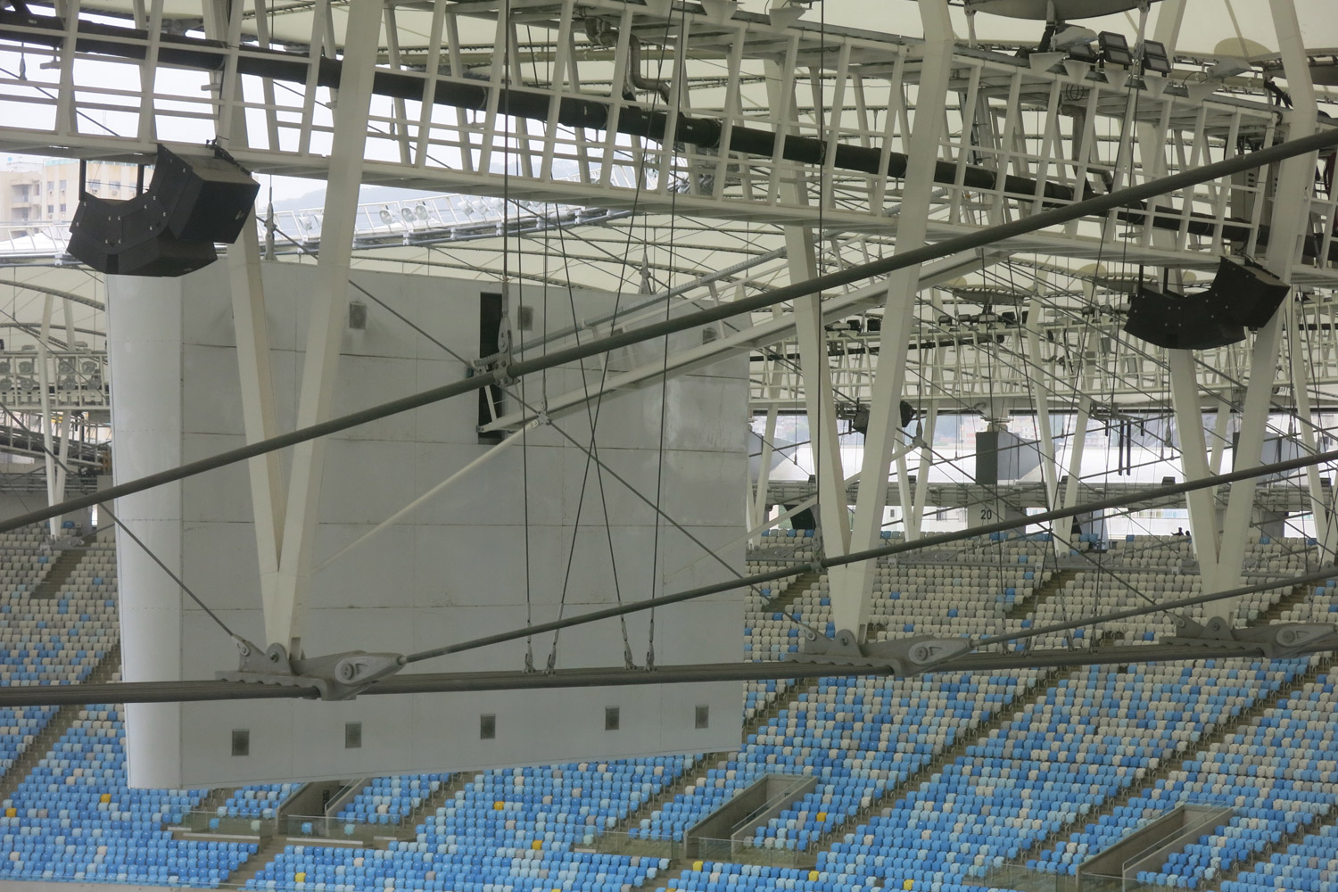 Maracana Stadium in Rio de Janeiro, Brazil. One of the biggest soccer stadiums in the world, home of the 2014 Olympic Games and World Cup. WSDG was called for consulting and installation of the audio/video of the whole facility. Back of one of the main screens.