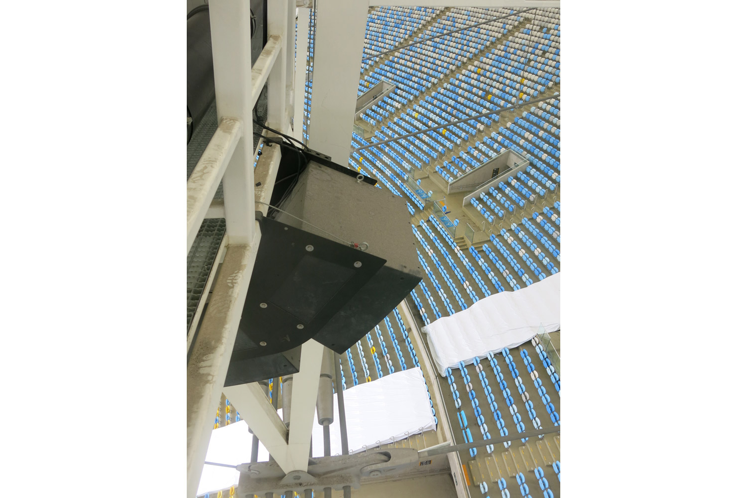 Maracana Stadium in Rio de Janeiro, Brazil. One of the biggest soccer stadiums in the world, home of the 2014 Olympic Games and World Cup. WSDG was called for consulting and installation of the audio/video of the whole facility. Sound systems close-up.
