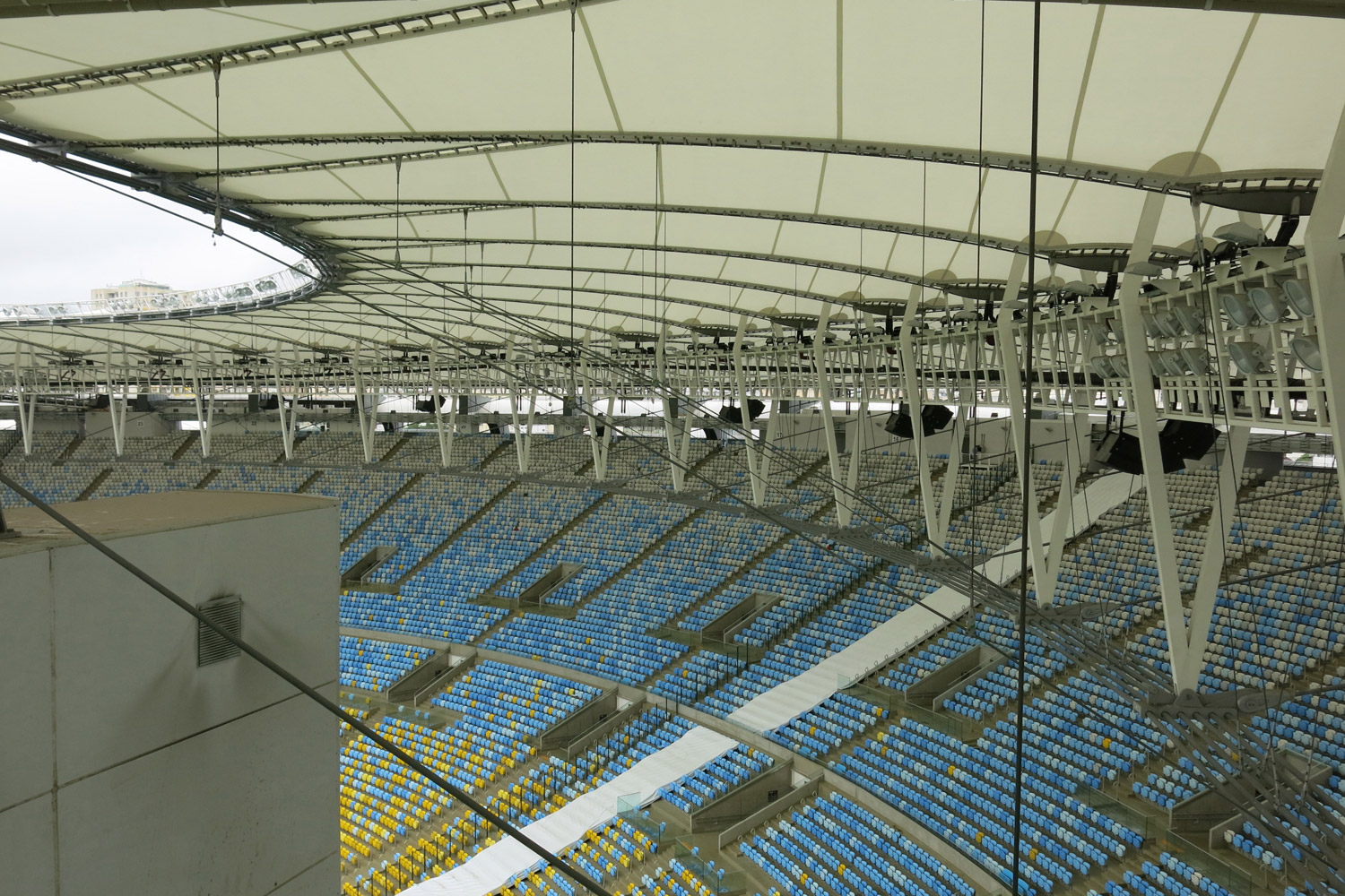Maracana Stadium in Rio de Janeiro, Brazil. One of the biggest soccer stadiums in the world, home of the 2014 Olympic Games and World Cup. WSDG was called for consulting and installation of the audio/video of the whole facility. Detail of the stadium
