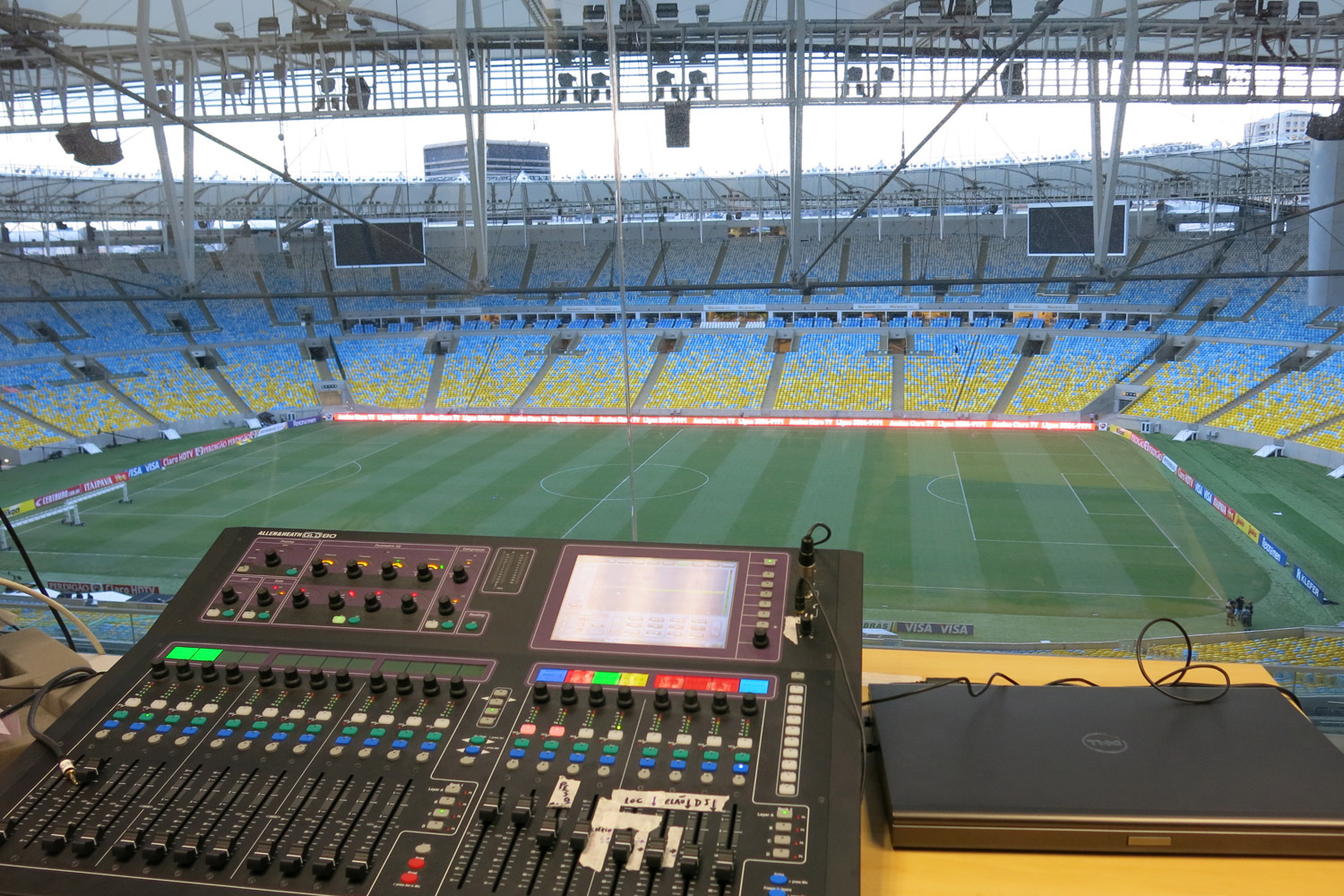 Maracana Stadium in Rio de Janeiro, Brazil. One of the biggest soccer stadiums in the world, home of the 2014 Olympic Games and World Cup. WSDG was called for consulting and installation of the audio/video of the whole facility. View from FOH.